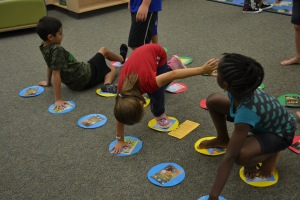 Then off to the library for activities and games, like book twister!