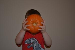 Look! I've got a pumpkin head!