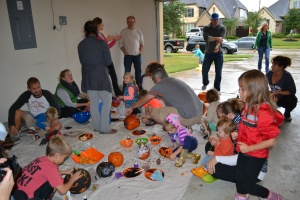 The wet weather didn't stop our pumpkin decorating party.
