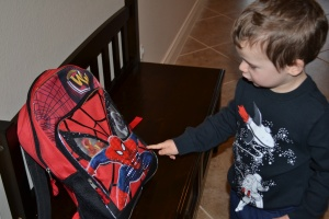 My new backpack features Spiderman and his brothers.