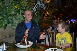 We got him the birthday brownie volcano for dessert and sung him 'Happy Birthday,! Feliz cumpleaños Papi!
